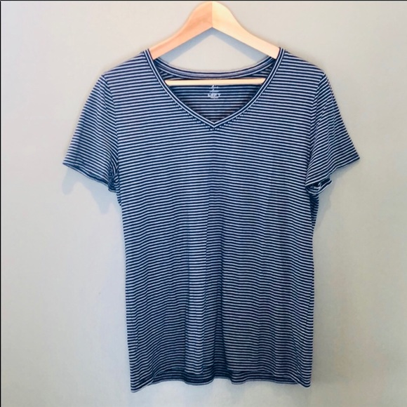 LOFT Tops - LOFT soft v-neck striped tee - navy & white - L